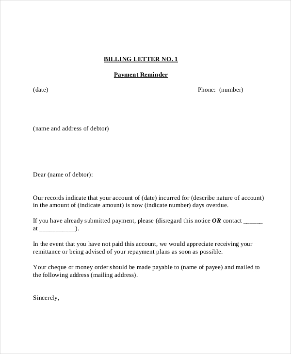 Payment Reminder Letter Template For Word Craftwordsco intended