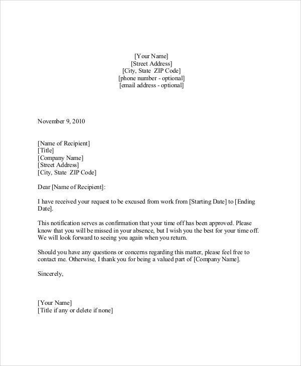 7+ Sample Vacation Request Letters – PDF, DOC, Apple Pages