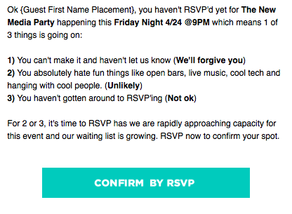 Rsvp Reminder Wording Corporate Scrumps