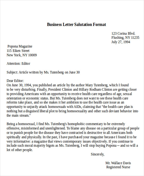 Salutation In A Business Letter Letters Font