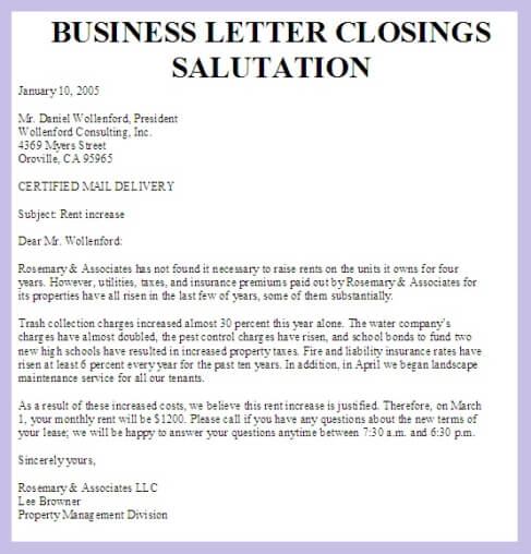 terminology What term is used for the closing of a letter