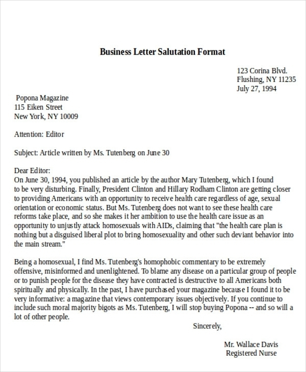 Proper salutation for business letter salutations in letters the