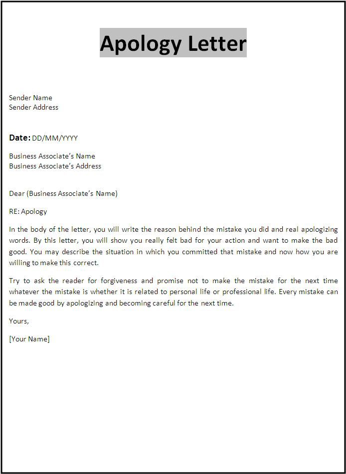 Professional Apology Letter Free sample letters of apology for