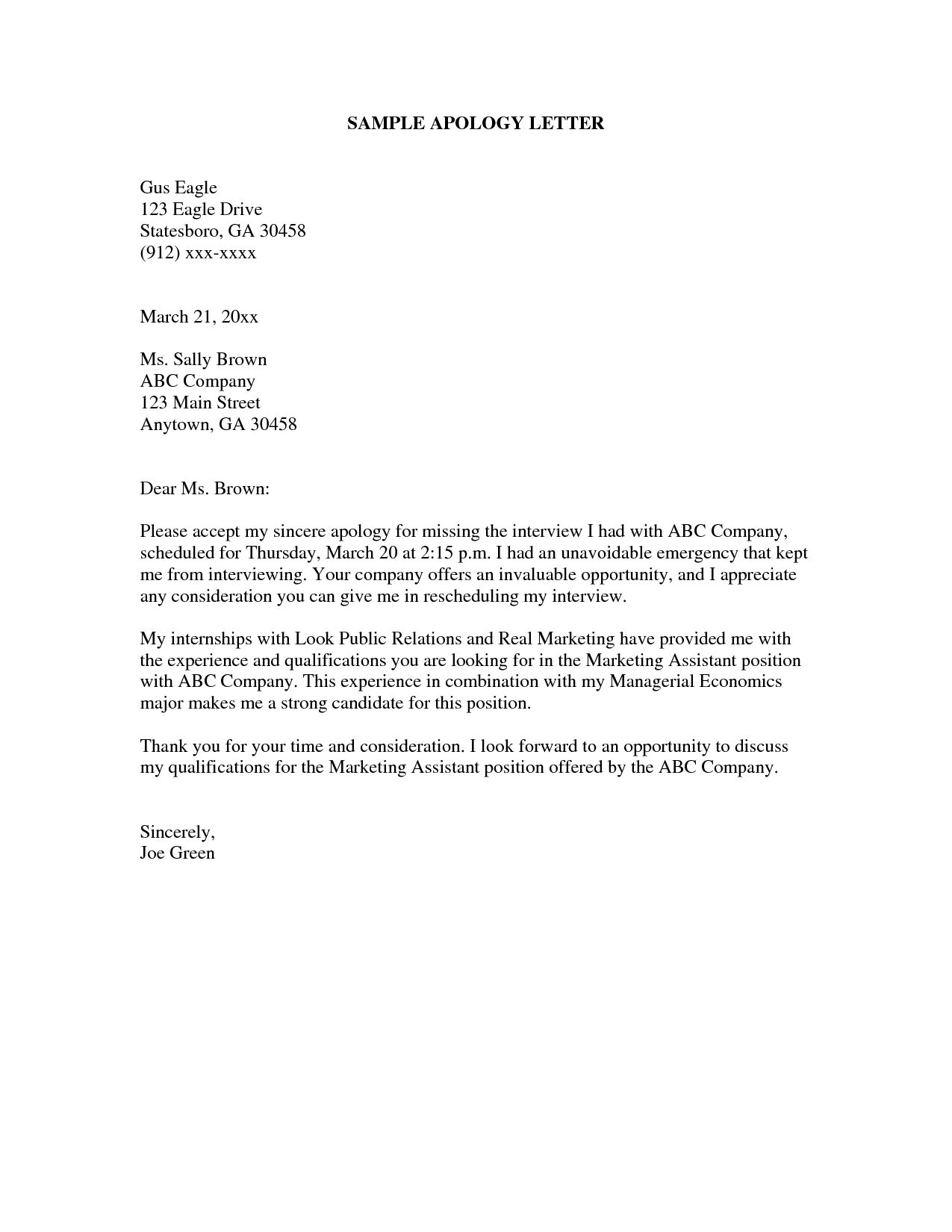 apology letter sample – cool green jobs