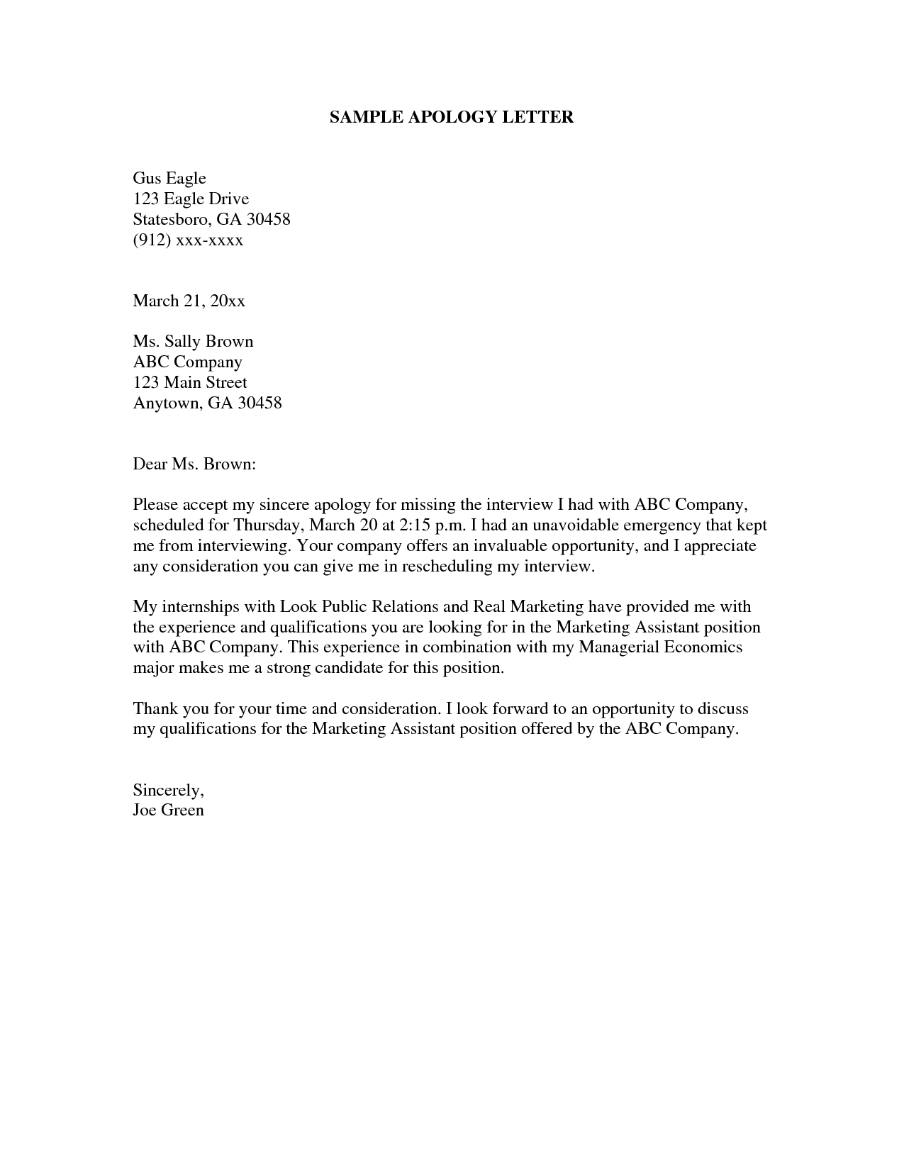 Format Of Apologize Letter Best Professional Apology Free Sample