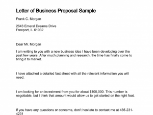samples of business proposal letter