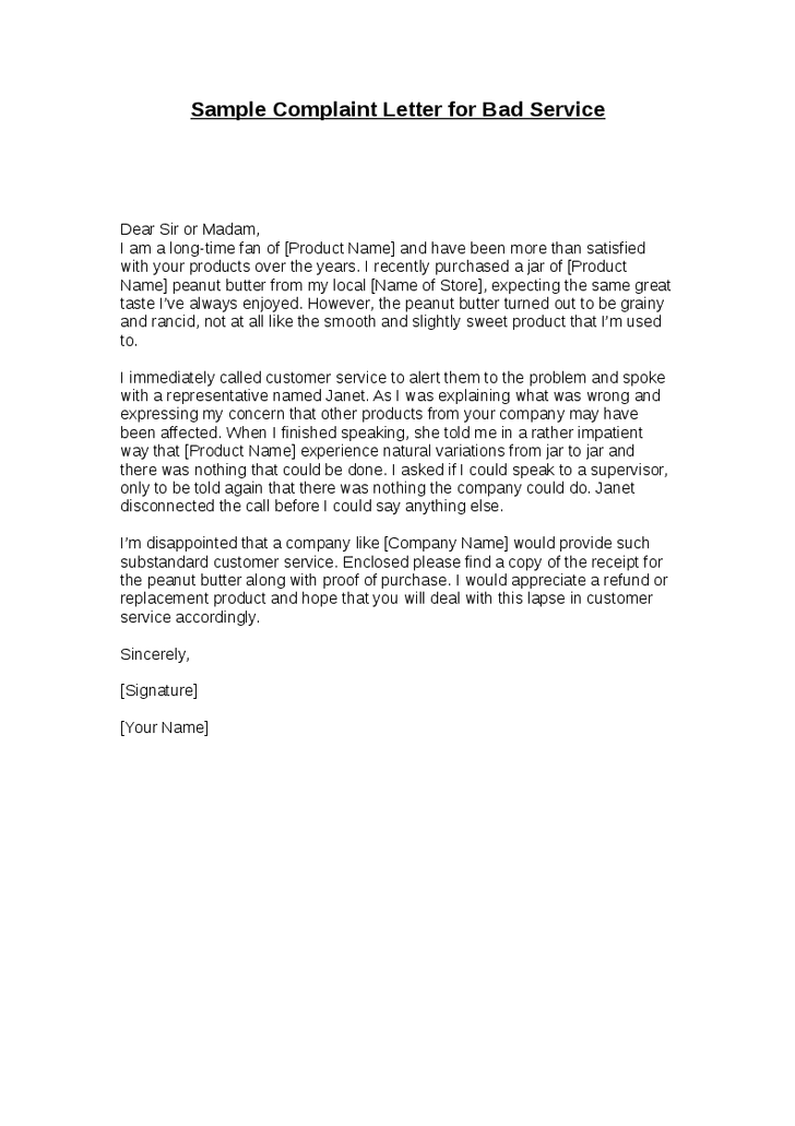 letter of dissatisfaction for poor service Boat.jeremyeaton.co