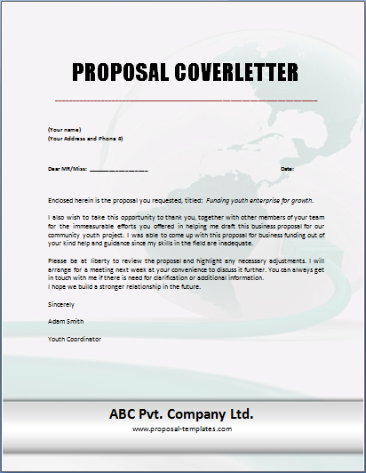 proposal cover letter template proposal cover letter template free
