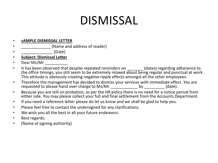 12+ Sample Letters Of Dismissal Sample Letters Word