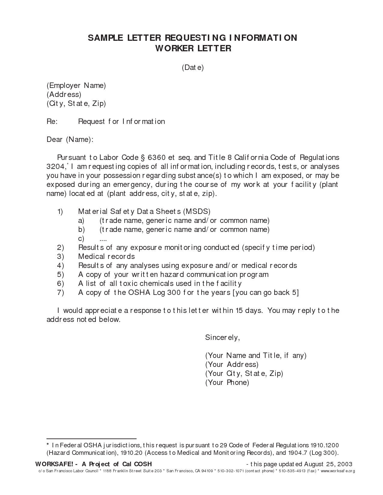 information request letter example sample template