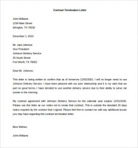 Sample Letter Of Termination Of Contract Service Scrumps