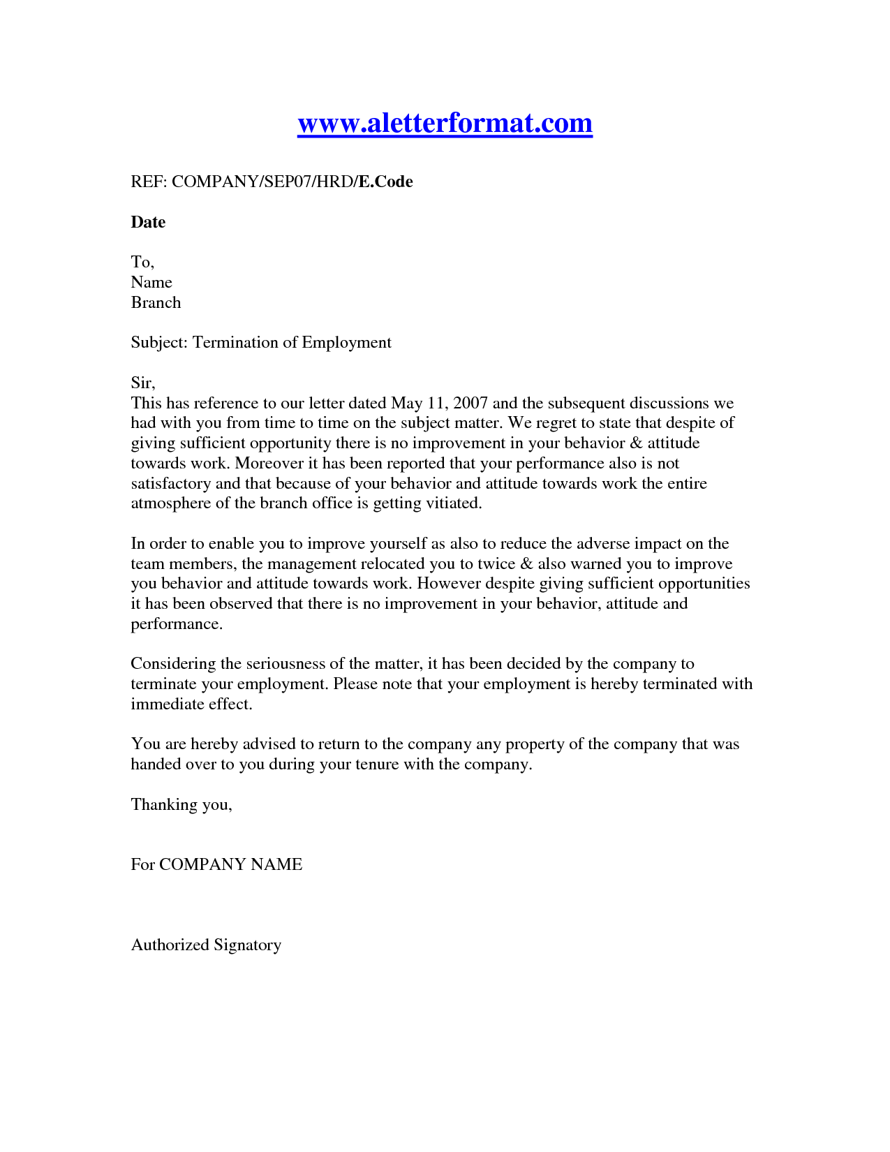 letter of termination of employee Boat.jeremyeaton.co