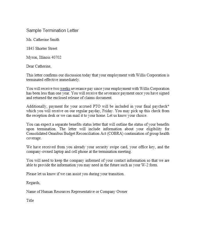 sample of dismissal letter from employer Boat.jeremyeaton.co