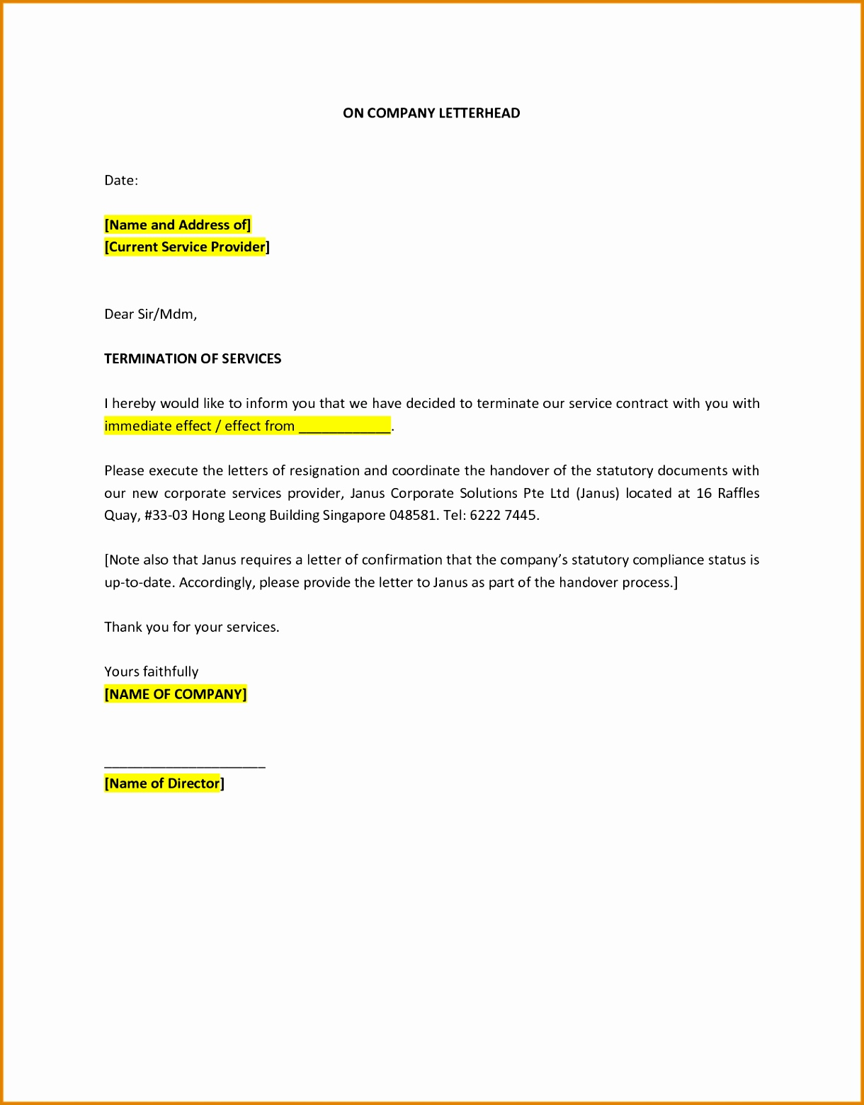 10 Sample Of Termination Letter Of Service BestTemplates