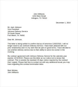 similar posts letter to terminate service
