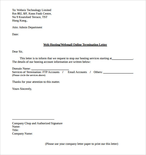 sample letter for termination of service