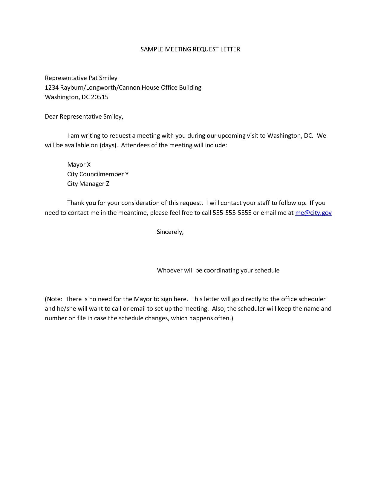 sample letter requesting for a meeting