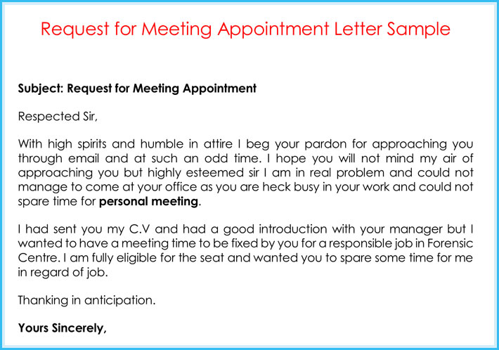 How To Write A Letter Requesting A Meeting Gallery Letter Format