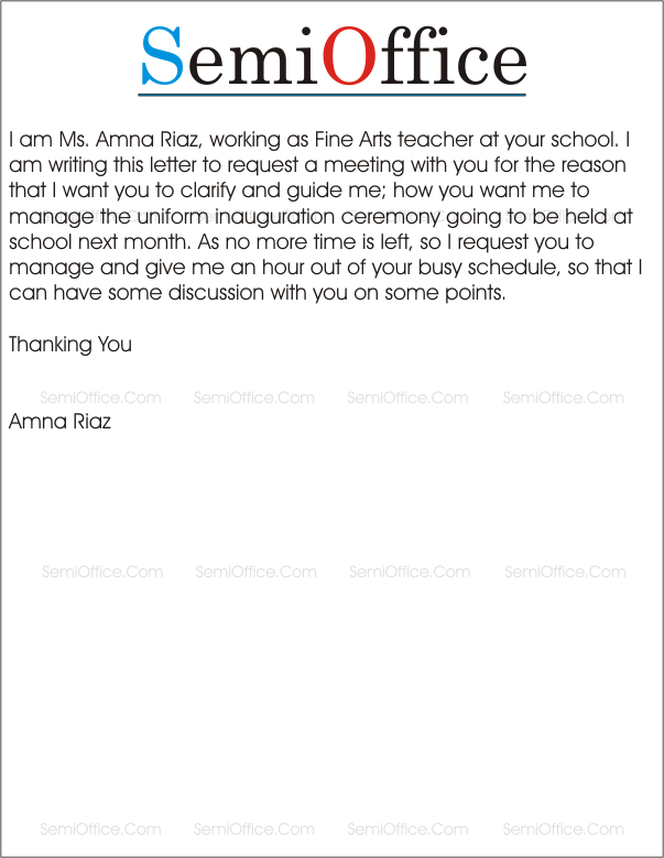 Letter Requesting Meeting with Principal Semioffice Amazing Letter