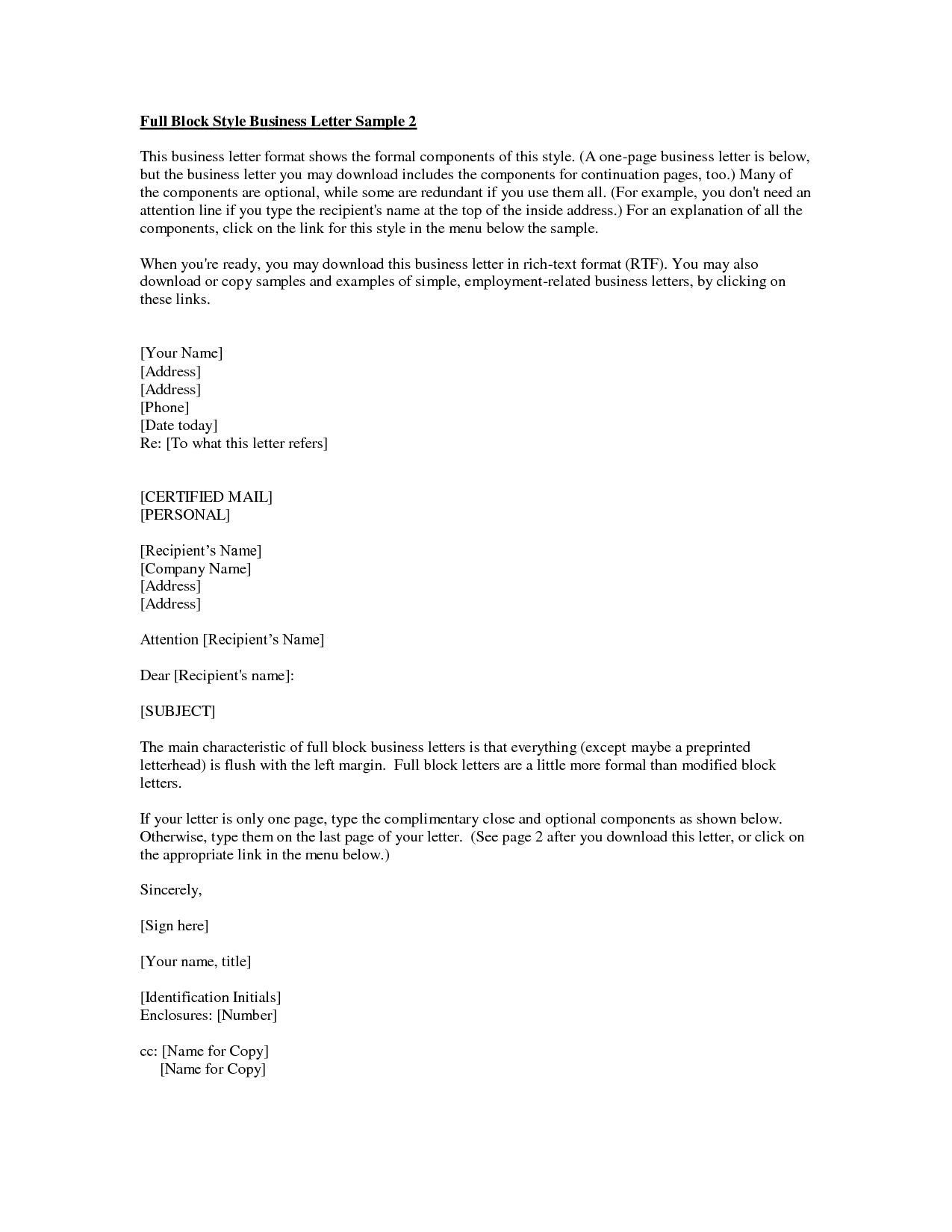 Business Letter Format With Cc And Enclosures Resume Pics And