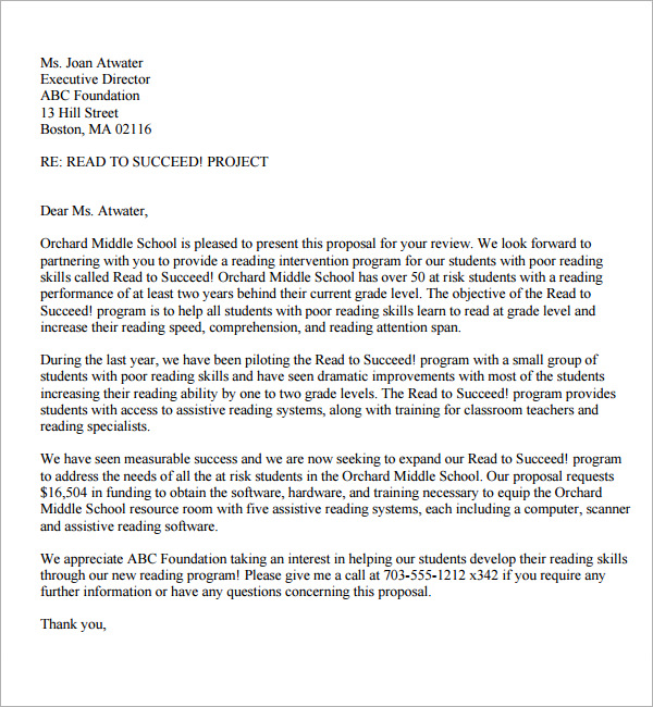 sample of proposal letters  Sample Of A Proposal Letter | scrumps