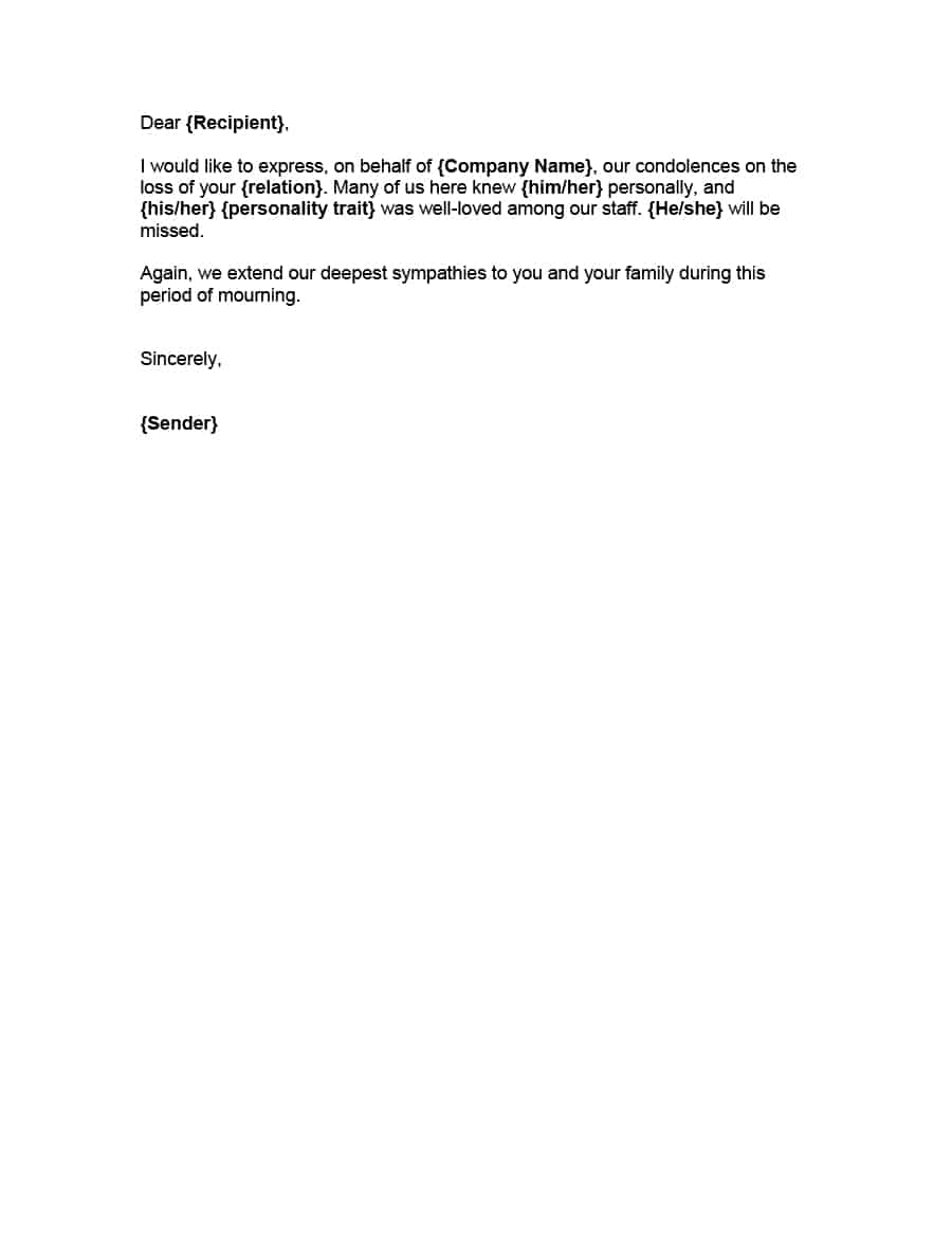 41 Condolence & Sympathy Letter Samples Template Lab