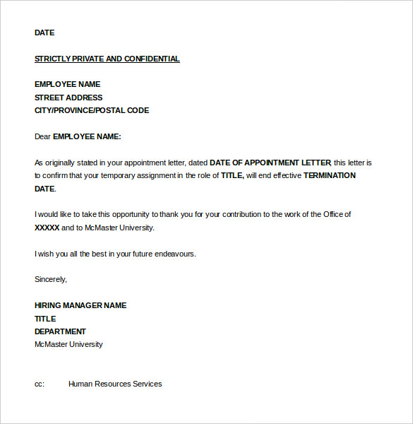 sample of job termination letter