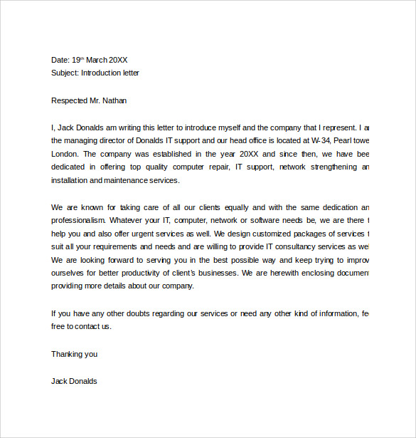 Free Letter of Introduction Template   Sample Introduction Letter