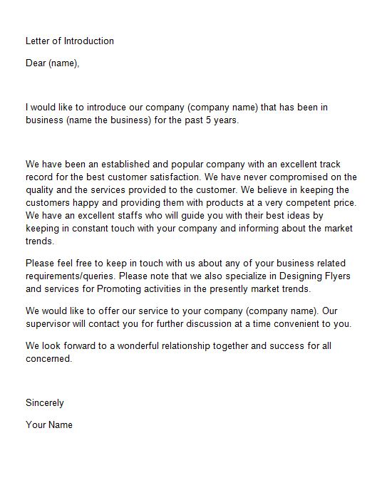 sample business letters of introduction Boat.jeremyeaton.co