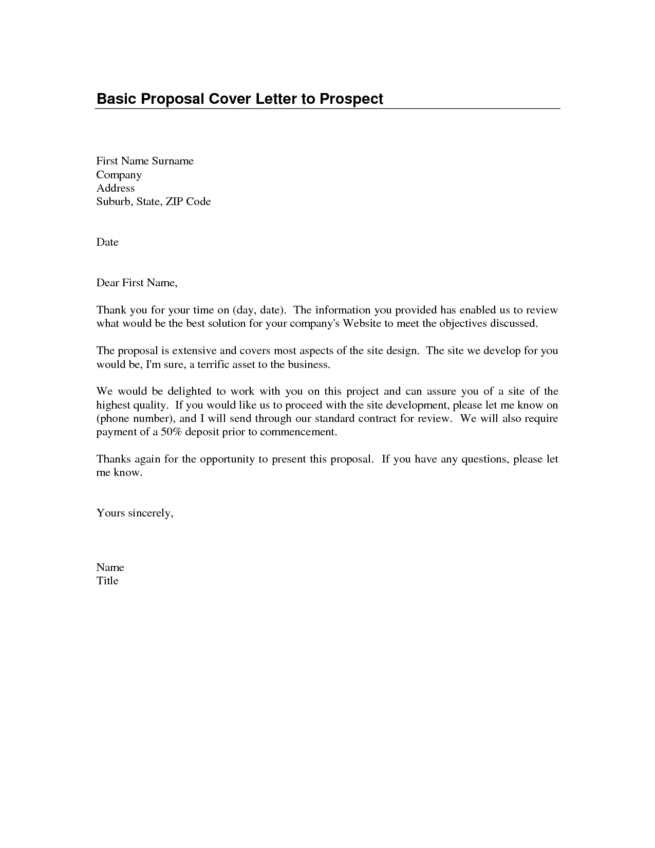 Sample Proposal Cover Letter 1 Business techtrontechnologies.com