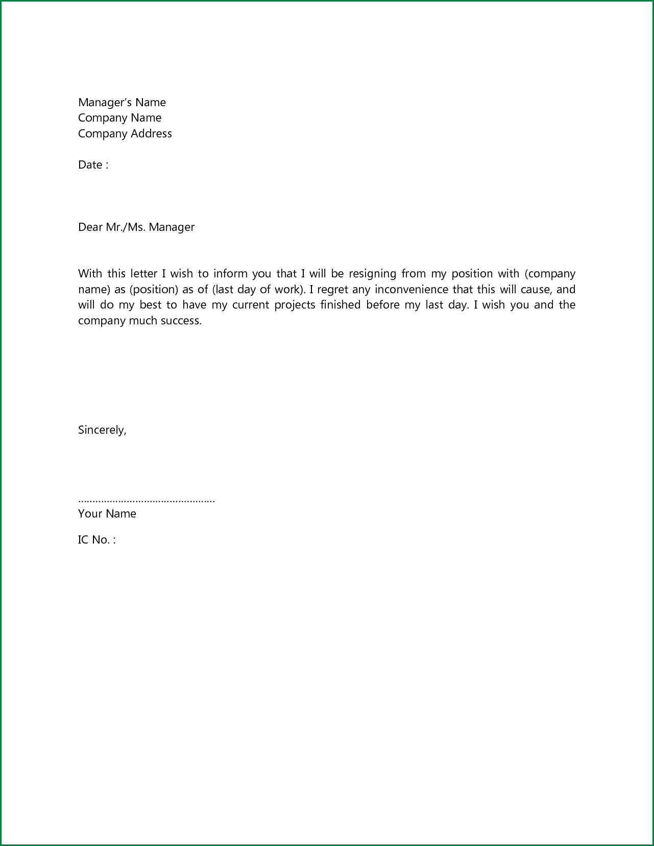 Sample Simple Resignation Letter