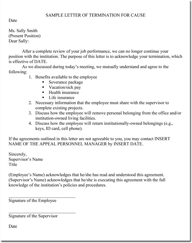 Job Termination Letters for Cause & Without Cause Sample