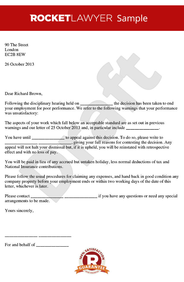 Dismissal Letter for Poor Performance Poor Performance Dismissal