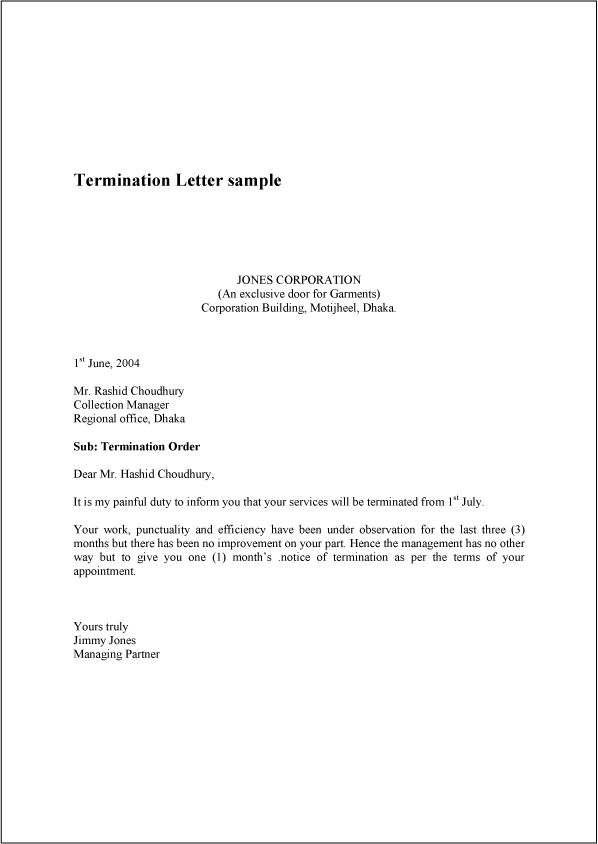 sample termination letter format Boat.jeremyeaton.co