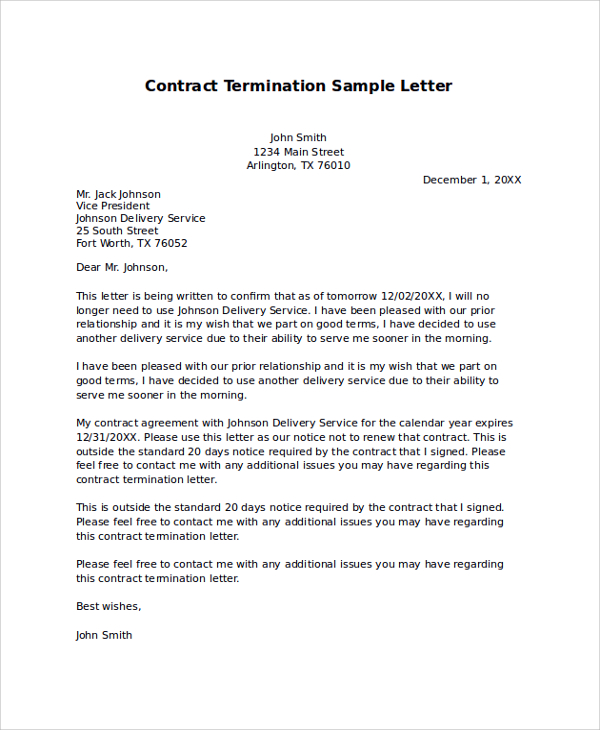 Sample Termination Letter | gplusnick