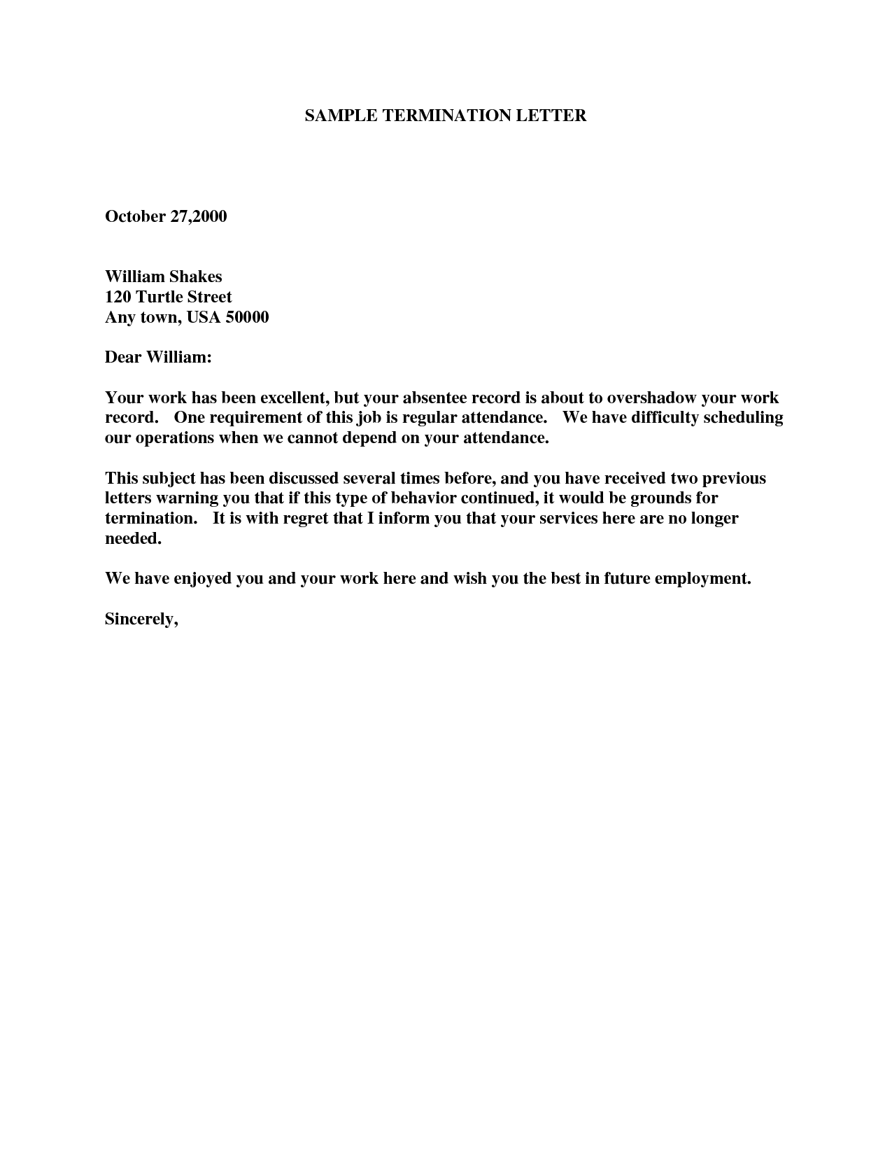 sample employee termination letters