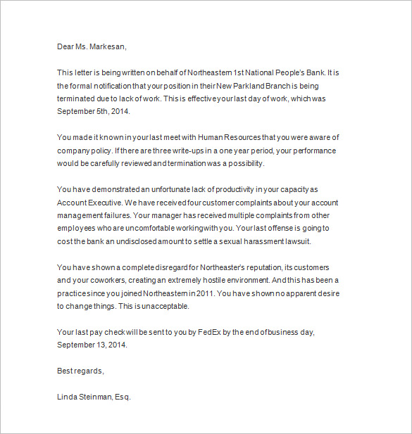 Free Termination Letter Template | Sample Letter of Termination