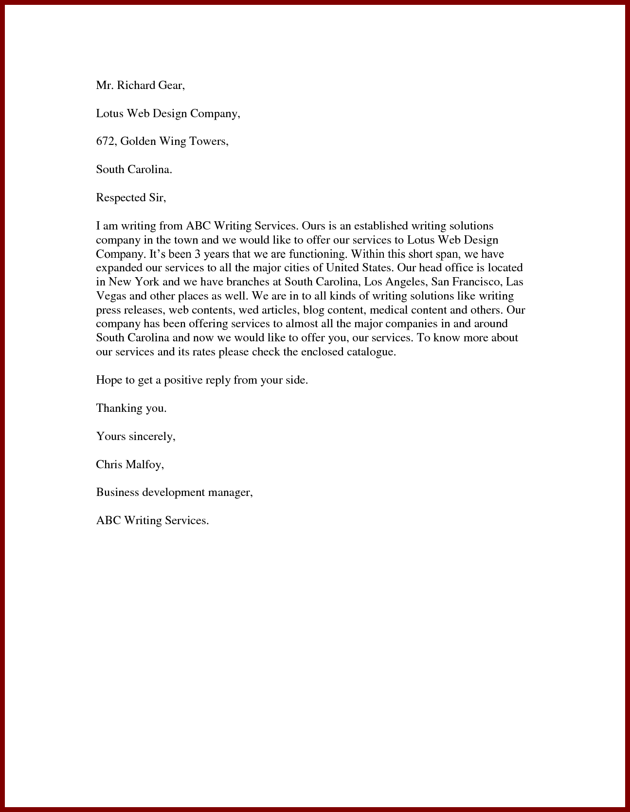 business service offer letter sample Boat.jeremyeaton.co