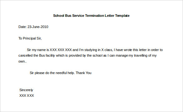 Collection Of solutions 10 Service Termination Letter Templates