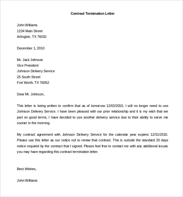 Termination of Services Letter 7+ Free Word, PDF Documents