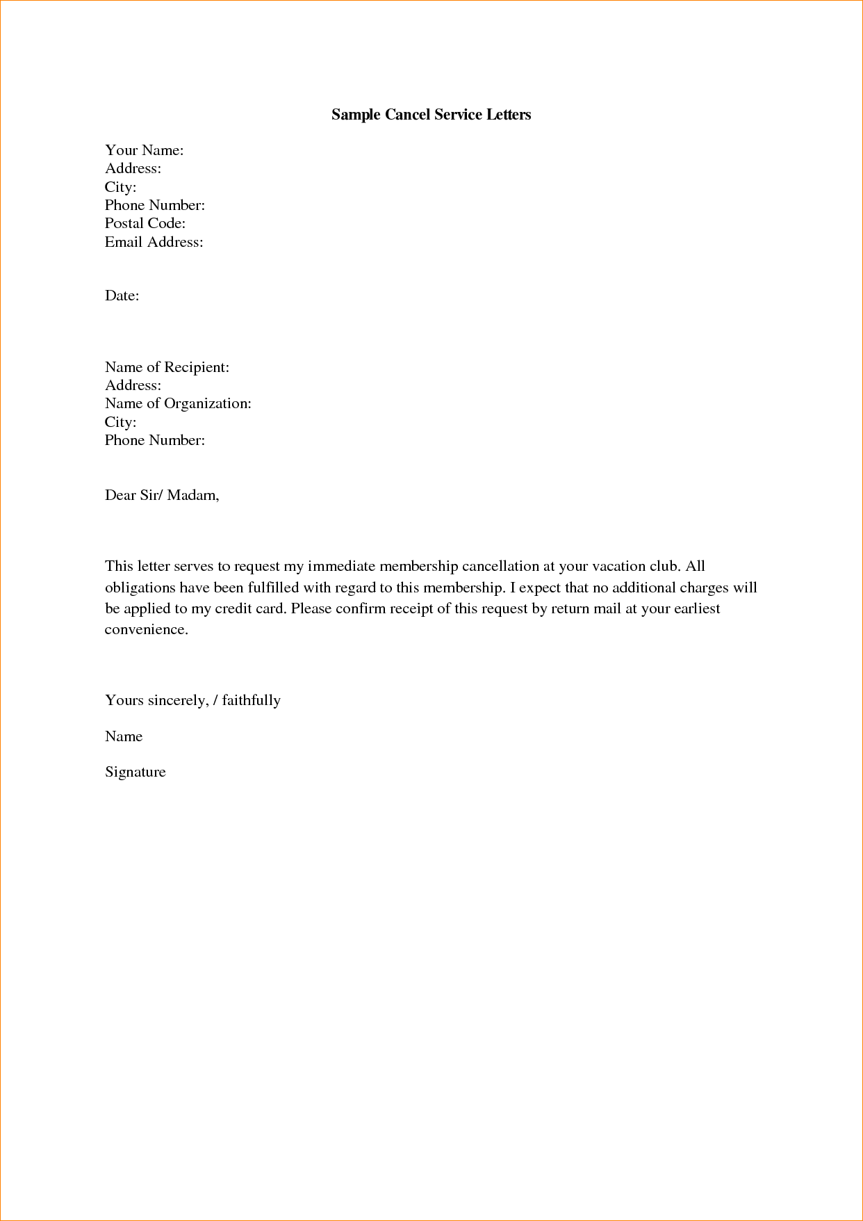 3+ service cancellation letter   Outline Templates