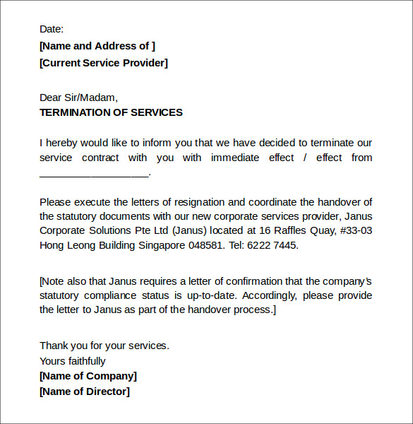 8+ Termination of Services Letters – DOC | Sample Templates