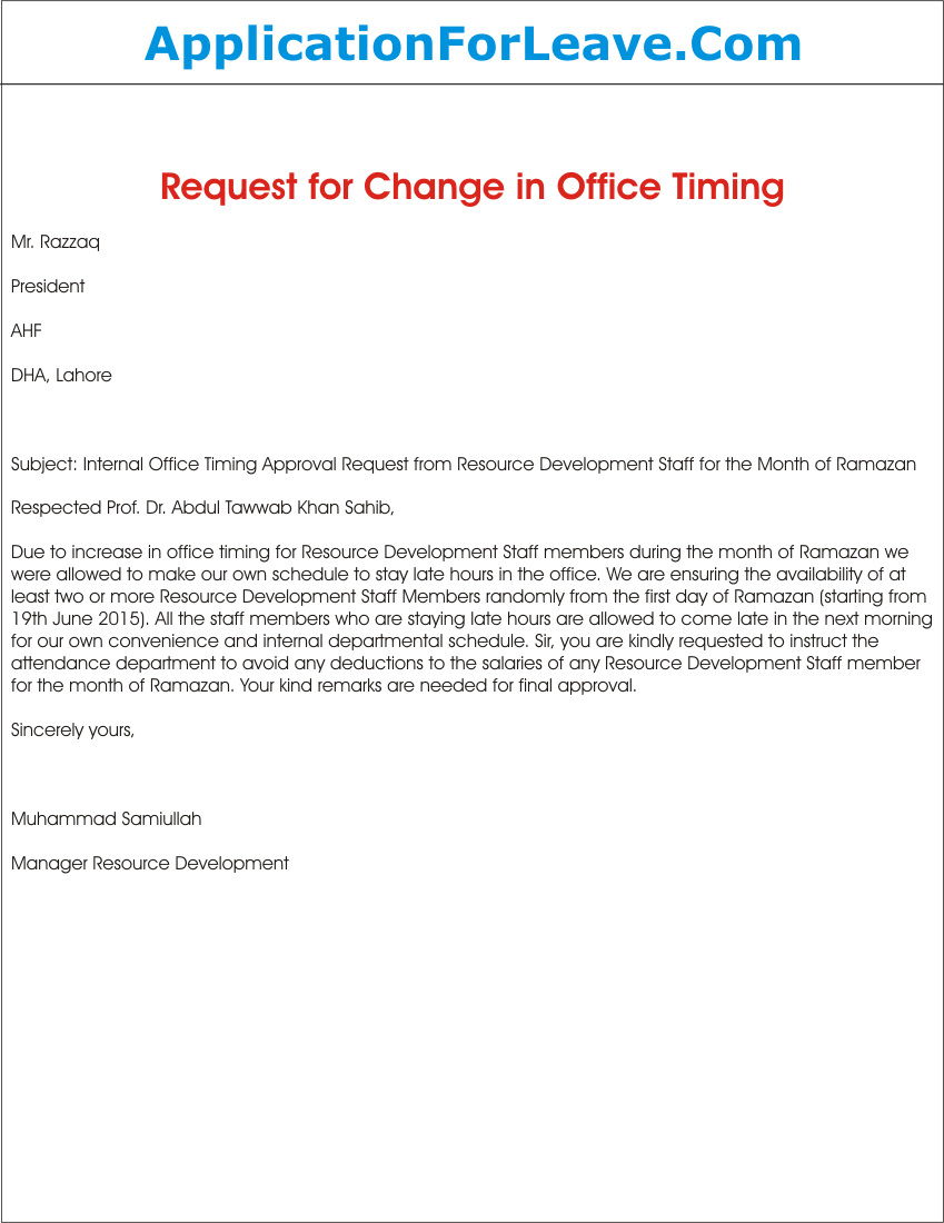 Request Letter for Approval of Change in Internal Office Timing