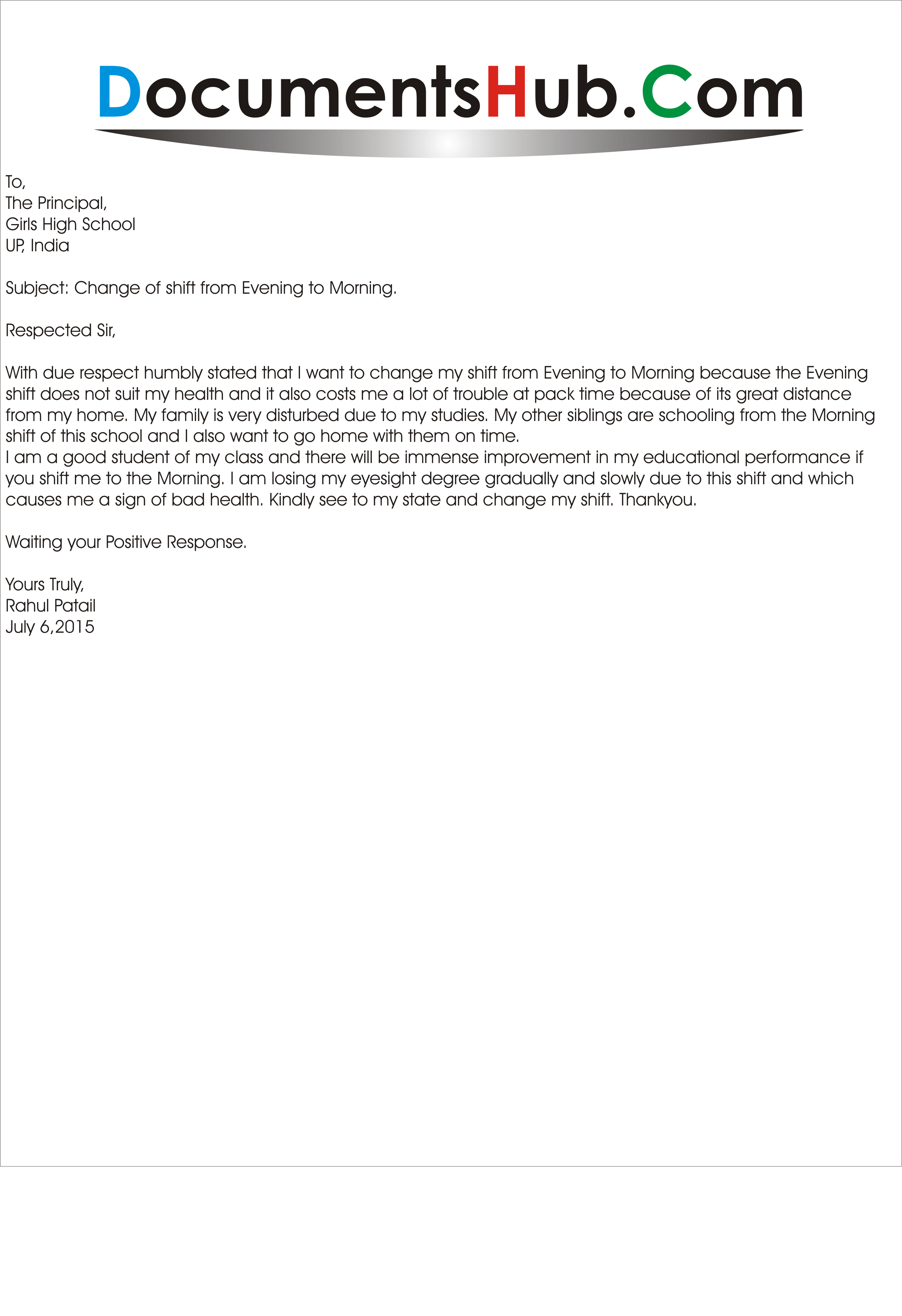 Shift Change Request Letter Scrumps