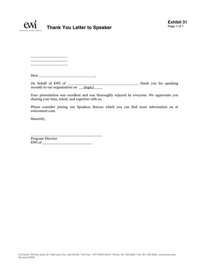 Thank You Letter to Speaker in Word and Pdf formats
