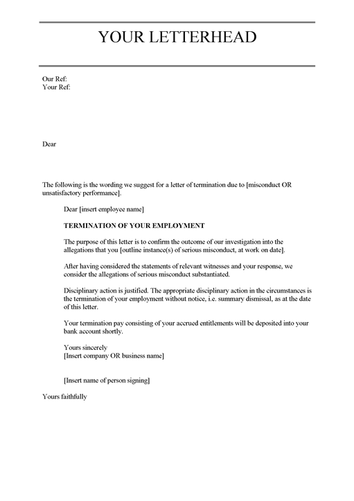sample employee termination letter due to poor performance   Hadi