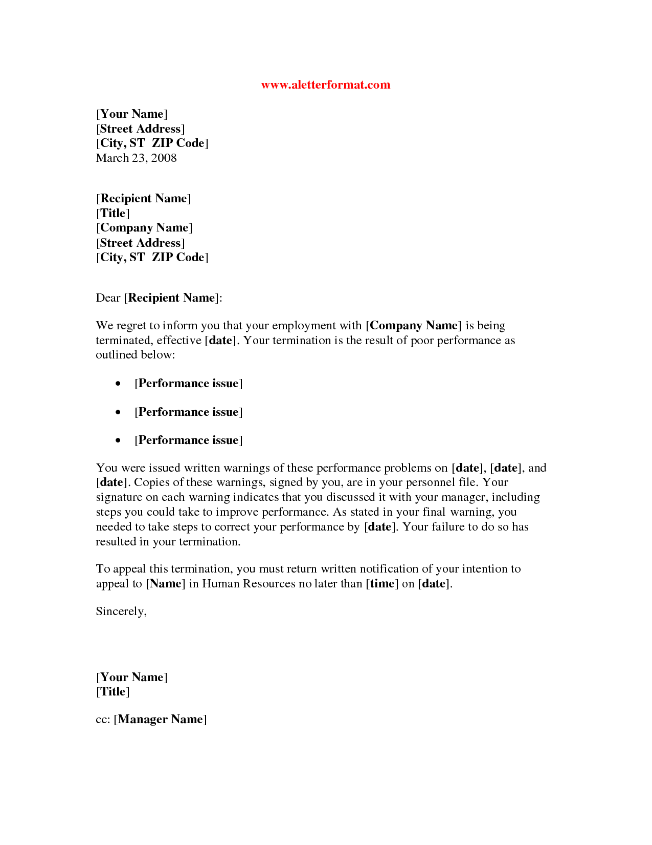 termination letter to employee for poor performance 28 images