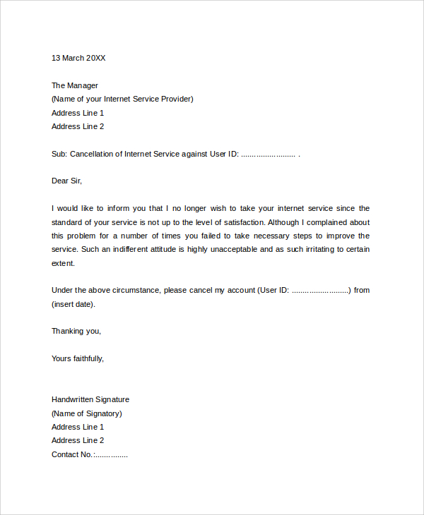 7+ Sample Service Termination Letters – PDF, DOC, Apple Pages