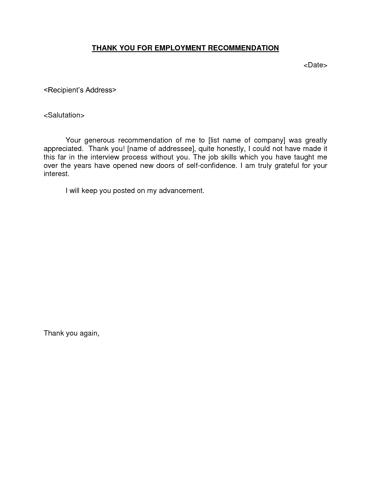 recommendation letter thank you note Boat.jeremyeaton.co