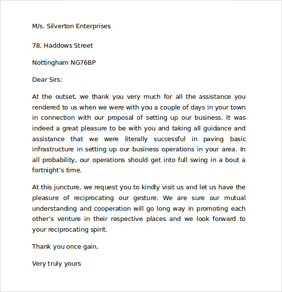 thank you letter to client for giving business